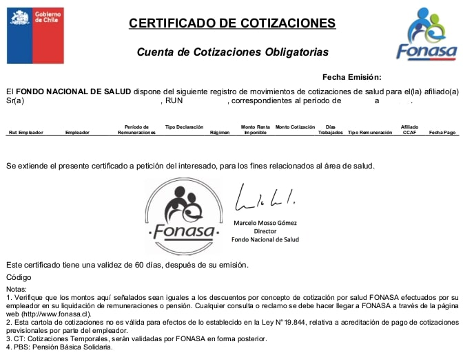 Certificados fonasa